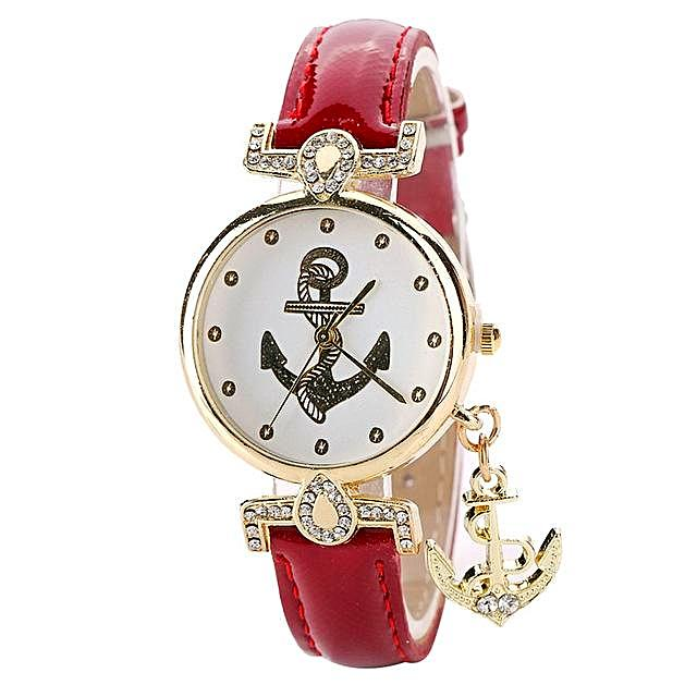 Quartz Diamond Anchor Watch for Women - Nautical Fashion