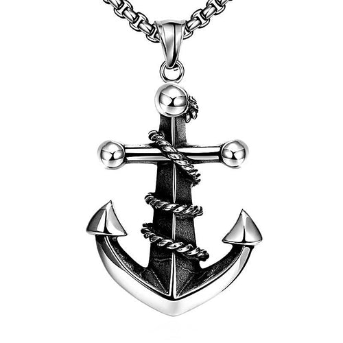 Large Stainless Steel Vintage Anchor Necklace