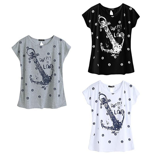 Summer Anchor Top T-Shirt for Women Nautical Fashion Style