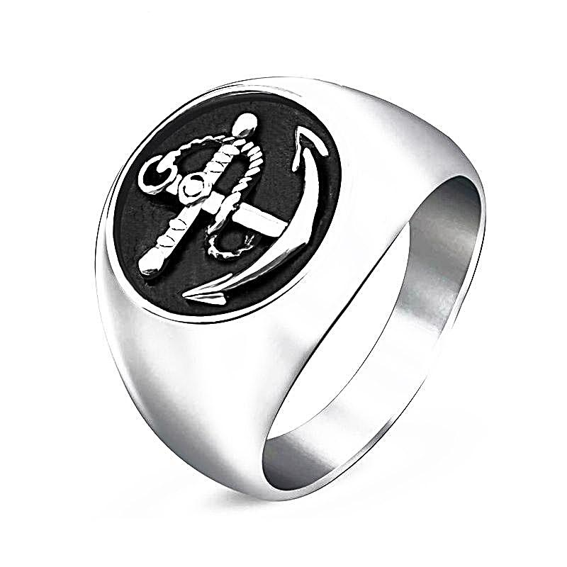 Smooth Stainless Steel Anchor Ring for Men Nautical Ring Nautical Jewelry