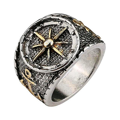 Silver Gold Compass Anchor Ring for Men - Nautical Ring Nautical Jewelry