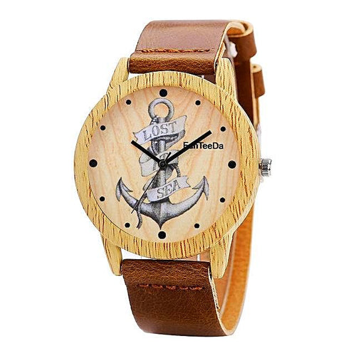 Vintage Wooden Anchor Watch Nautical Fashion Style