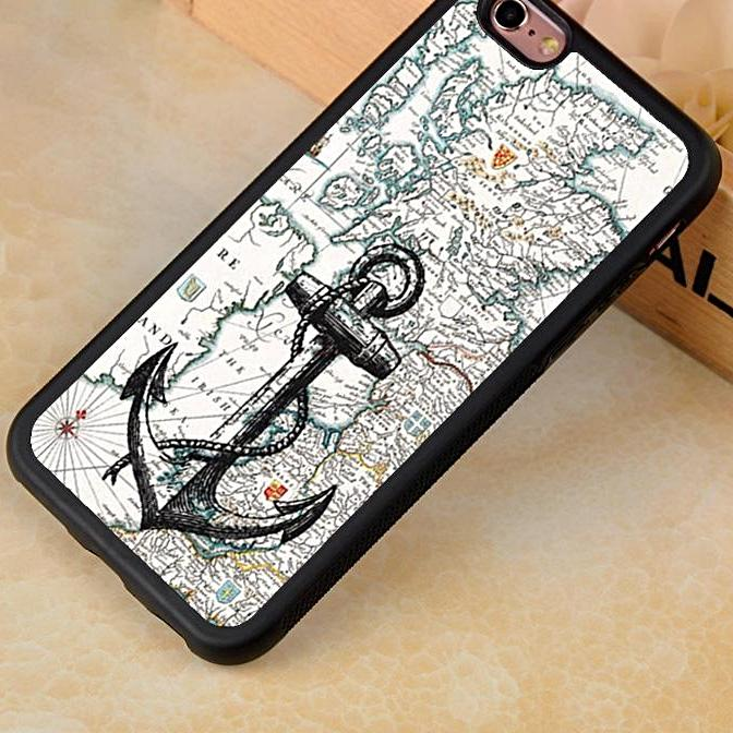 Vintage Map Anchor Phone Case Nautical Phone Case