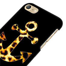 Black Leopard Print Anchor Phone Case for iPhone Nautical Style Accessories