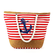 Vintage Printed Canvas Anchor Tote Bag Nautical Fashion Style