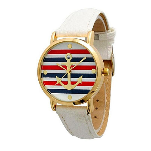 Leather Striped Casual Anchor Watch for Women