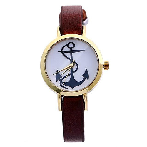 Slim Strap Anchor Watch for Women Nautical Fashion