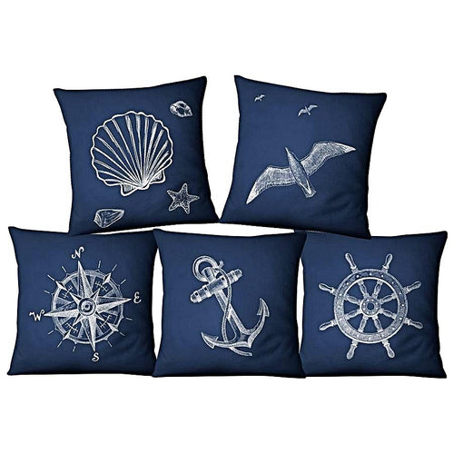 Nautical Style Anchor Linen Cushion Covers Nautical Home Decor
