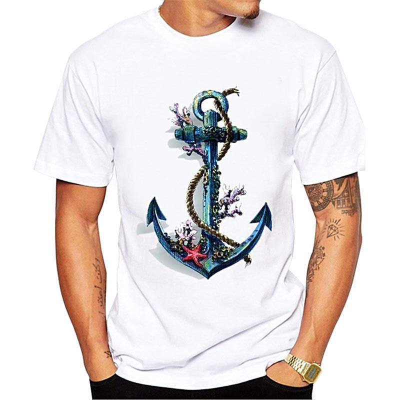 Printed Anchor T-shirt for Men Nautical Fashion Style