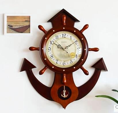 Luxury Wooden Nautical Rudder Wall Clock-Nautical Decor-Nautical Style