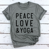 PEACE LOVE AND YOGA TEE