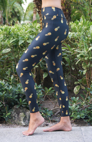 GOLDEN PINEAPPLES LEGGINGS ~ HIGH WAISTED BLACK