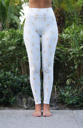 GOLDEN PINEAPPLES LEGGINGS ~ HIGH WAISTED WHITE
