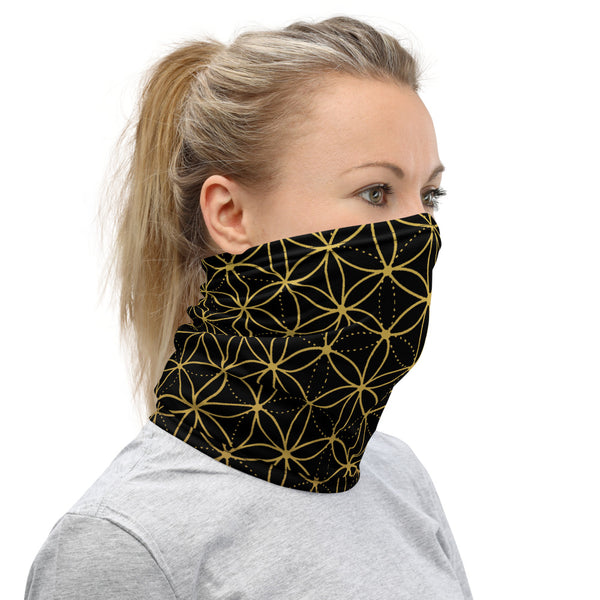 FLOWER OF LIFE FACE SHIELD / NECK GAITER - BLACK/GOLD
