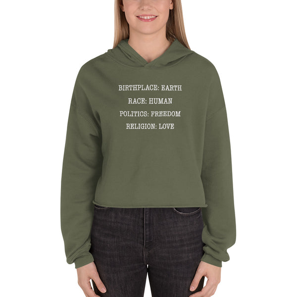 BIRTHPLACE EARTH CROP HOODIE