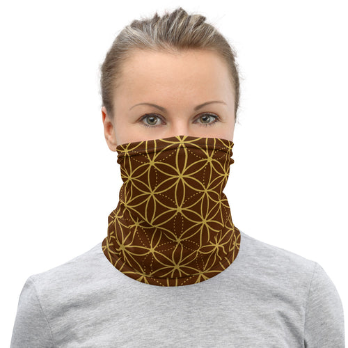 FLOWER OF LIFE FACE SHIELD / NECK GAITER - BROWN/GOLD