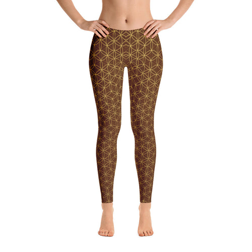 FLOWER OF LIFE LEGGINGS BROWN