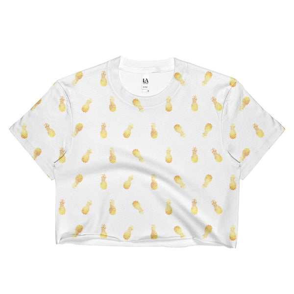 GOLDEN PINEAPPLE CROP TEE WHITE - ALL OVER PRINT
