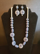Classy Blue & Pearl Necklace & Earring Set