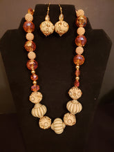 Handmade Peach and Cream Statement Necklace Set