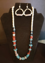 Wood & Pearl Statment Necklace and Earring Set