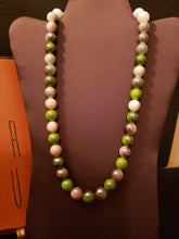 Ombre' Beaded Pink & Green Necklace