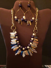 Mutli Colored Quartz Chain Necklace & Earring Set
