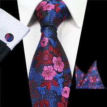 Men's Floral Silk Neck Ties with Pocket Square and  Cufflinks