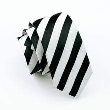 White Black Striped 100% Silk Jacquard Woven Tie Hanky Cufflink Set