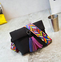 Stylish Cross Body Tassel  Bag with wide colorful strap.