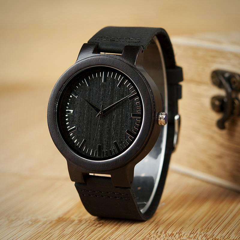 Men's Designer Brand Luxury Wooden Bamboo Watch With Real Leather Band