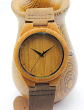 Natural Bamboo Wood Casual Quartz Watch Classic Style With Real Leather Strap