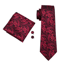 Men`s  Red & Black Paisley 100% Silk Jacquard Woven Tie Hanky Cufflink Set