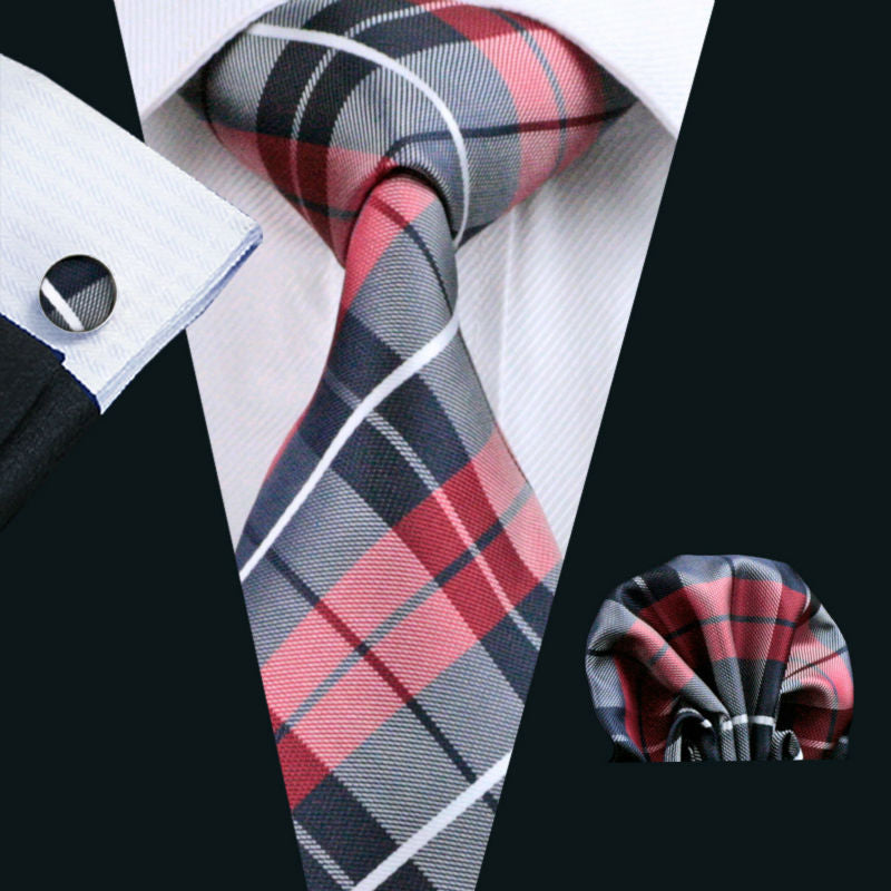 Plaid Fashion 100% Silk Jacquard Woven Tie + Hanky + Cufflink Set