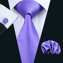 Purple Solid  100% Silk Jacquard Woven Tie + Hanky + Cufflink Set