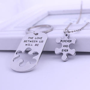 The Love Between Us Will Be Forever And Ever Necklace & Key Chain Set The Love Between Us Will Be Forever And Ever Necklace & Key Chain Set