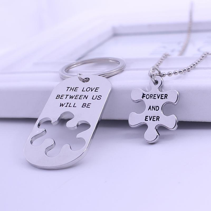 The Love Between Us Will Be Forever And Ever Necklace & Key Chain Set