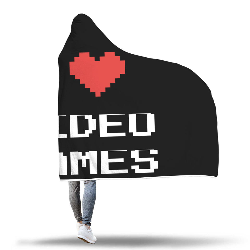 I Love Video Games - Video Gamer Hooded Blanket