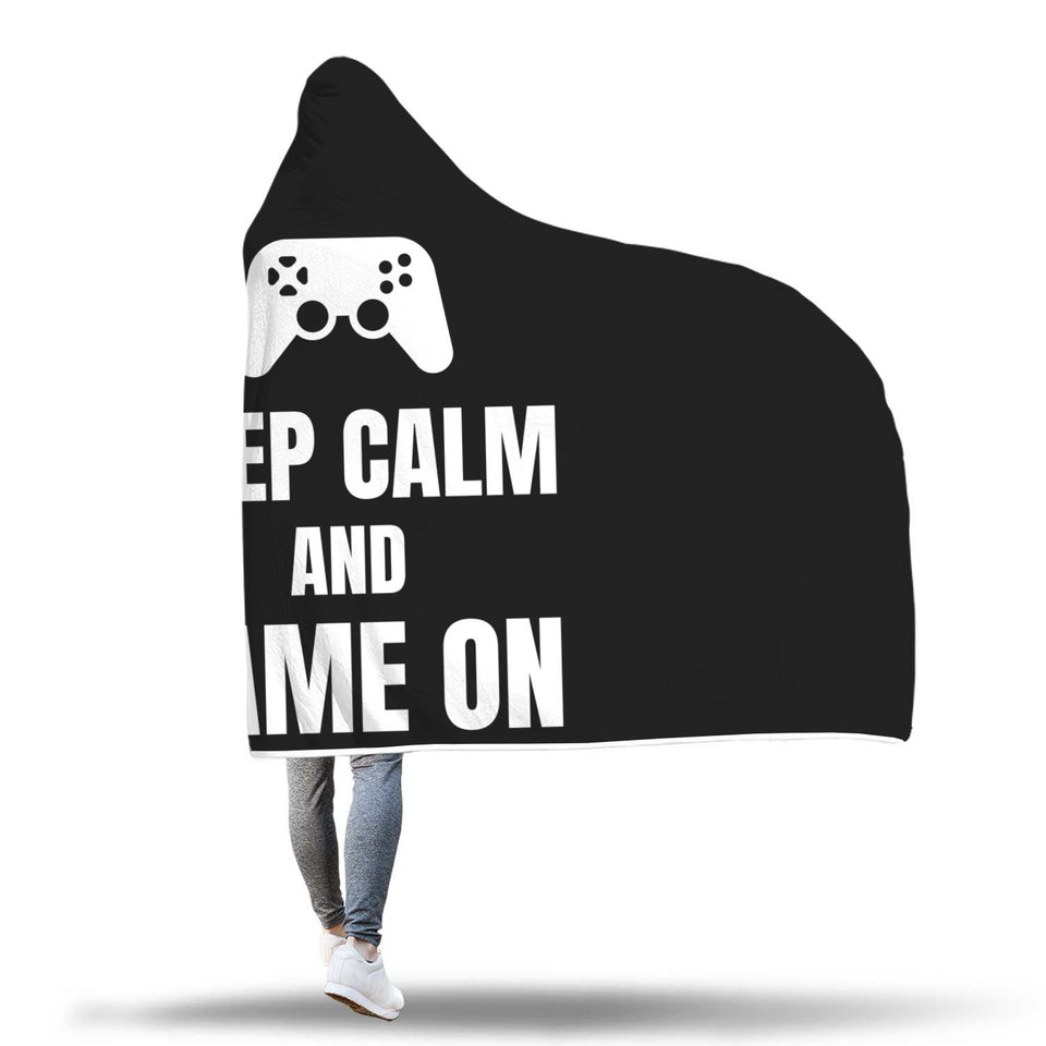 Keep Calm And Game On Video Gamer Hooded Blanket
