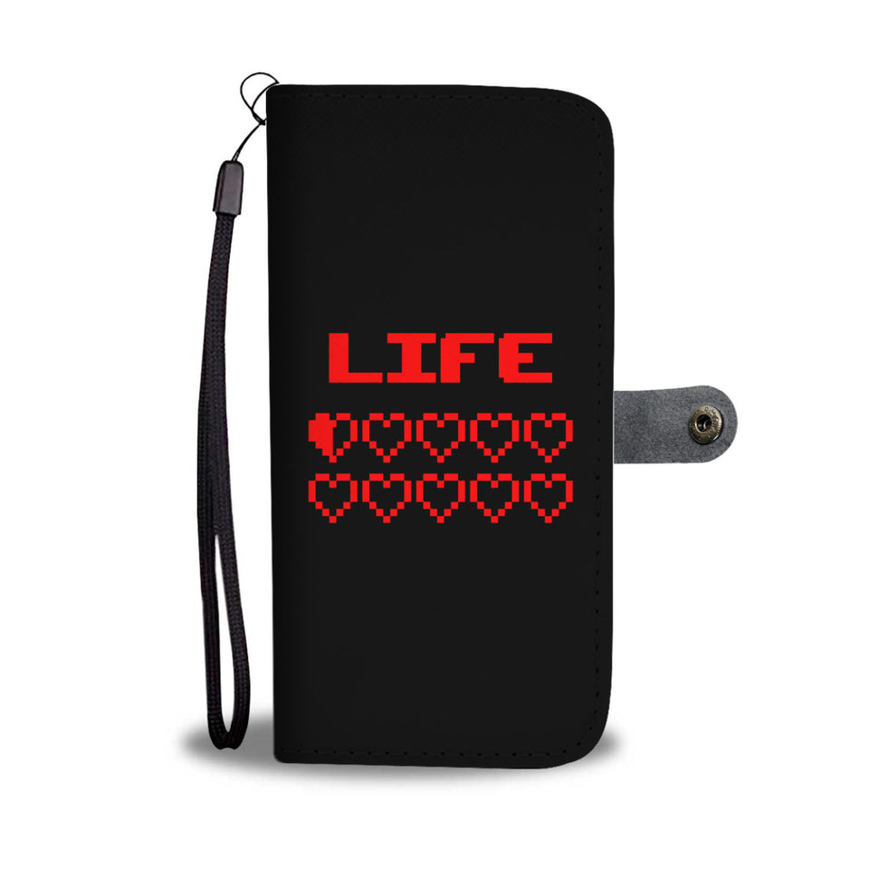 Gaming Life Bar - Game Hearts Health Bar Video Gamer Wallet Phone Case