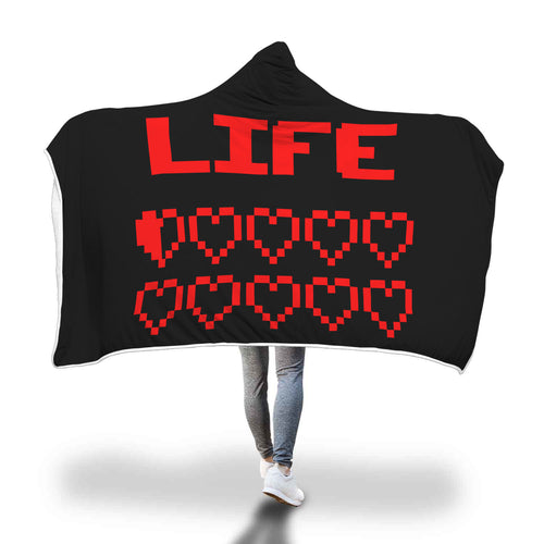 Gaming Life Bar (Game Hearts Health Bar) - Video Gaming Hooded Blanket