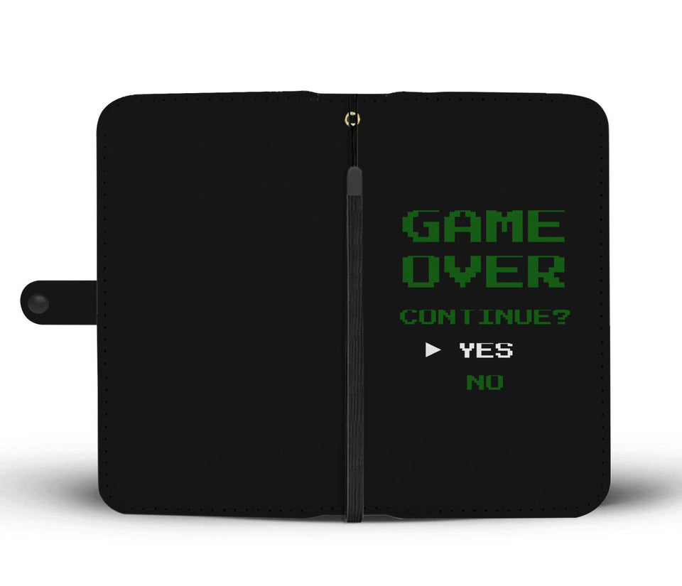 Game Over Continue Video Gamer Wallet Phone Case