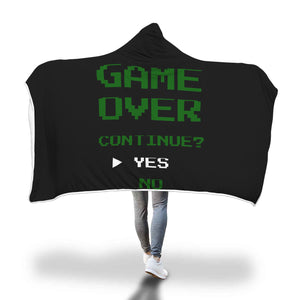 Game Over Continue Classic Retro Gaming Hooded Blanket Game Over Continue Classic Retro Gaming Hooded Blanket