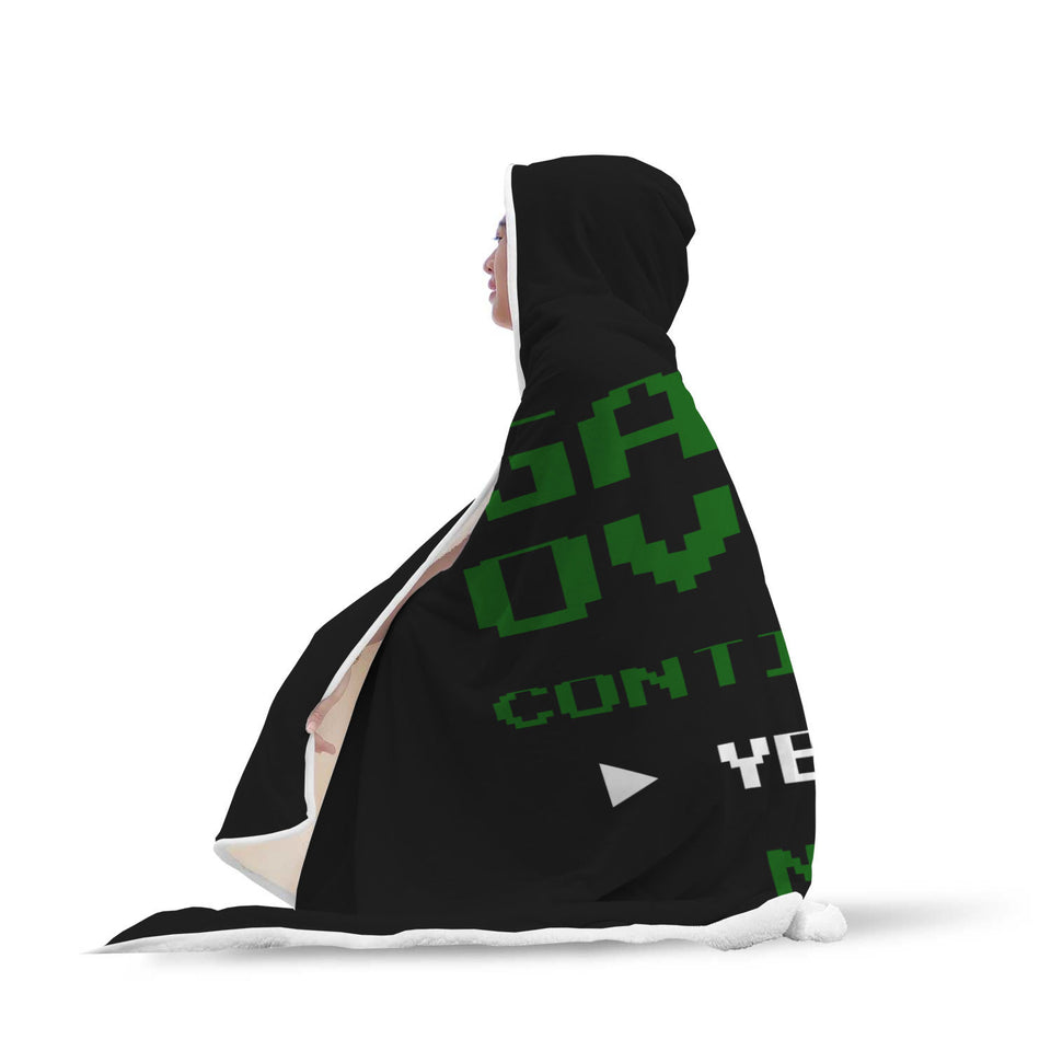 Game Over Continue Classic Retro Gaming Hooded Blanket