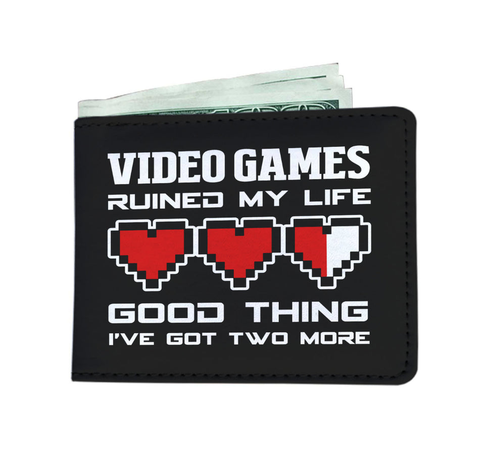 Video Games Ruined My Life Good Thing I've Got Two More Video Gamer Mens Wallet