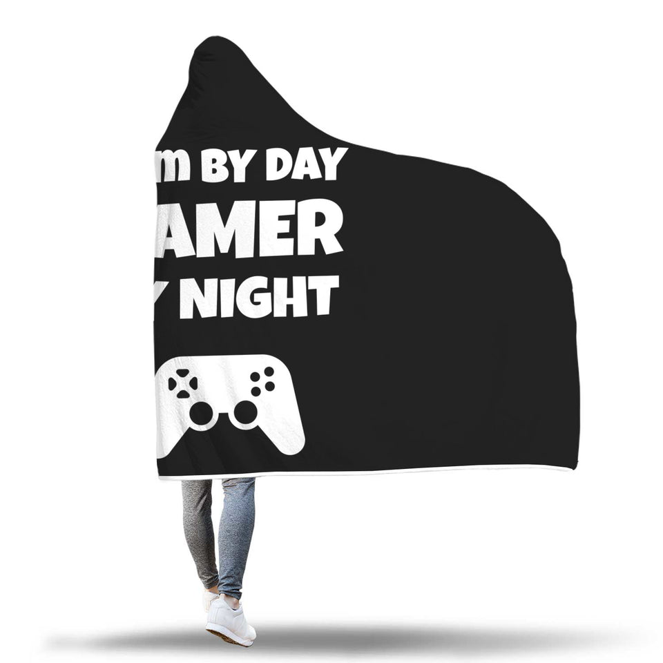 Mom By Day Gamer By Night Video Gamer Hooded Blanket