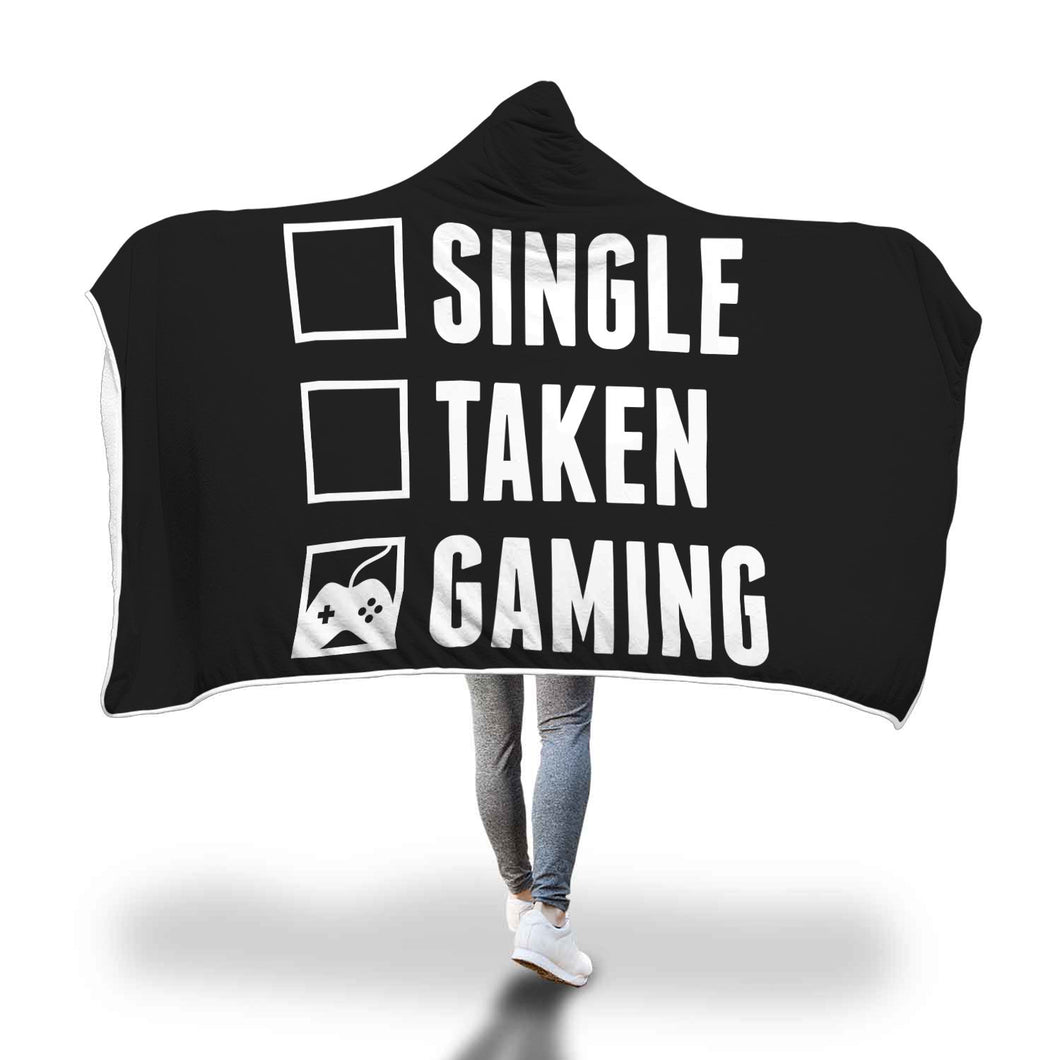 Single Taken Gaming - Video Gamer Hooded Blanket