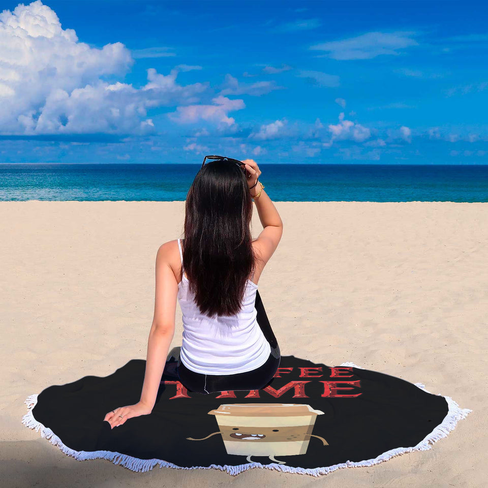 Coffee Time - Coffee Lovers Beach Blanket