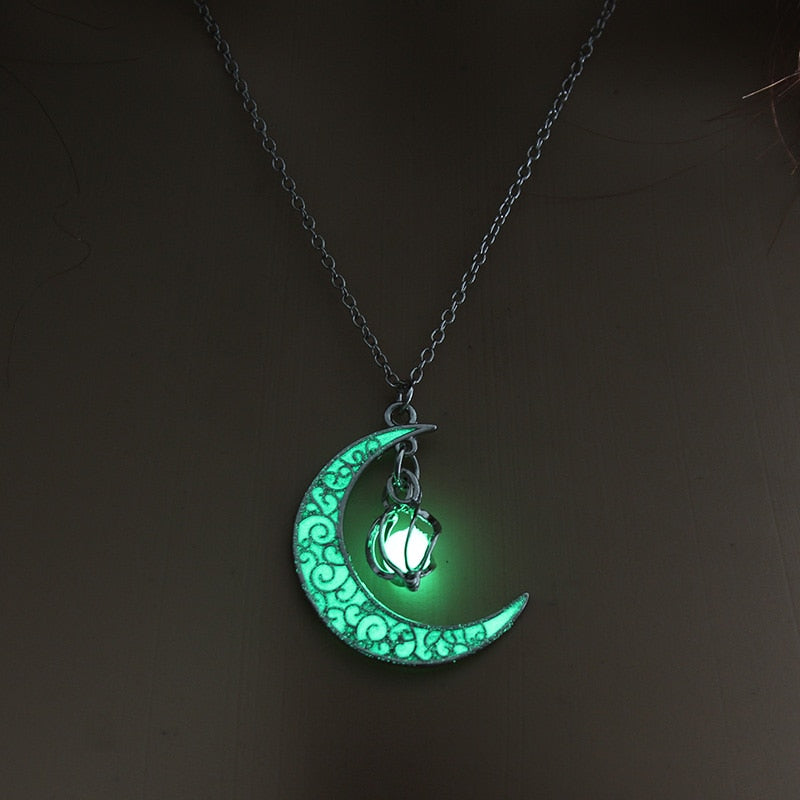 Moon Glowing Glow In The Dark Necklace