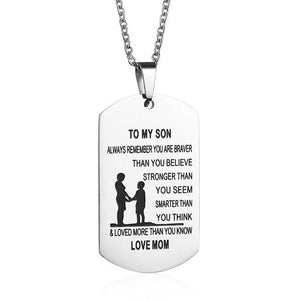 From Mom to Son - Stainless Steel Dogtag Necklace mom to son necklace, mother son necklace, mother and son necklace, mom and son necklace